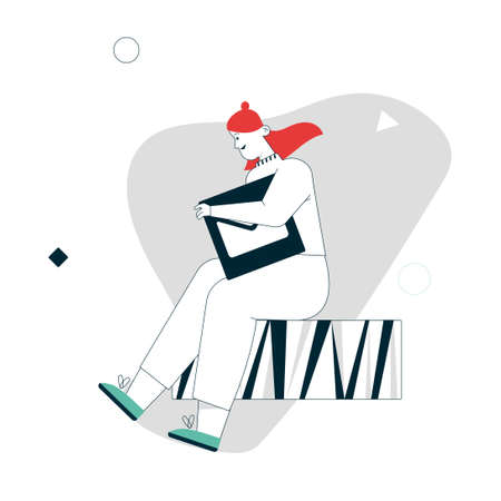 Vector linear character illustration of woman carries email button 写真素材 - 152410633