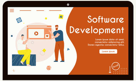 Vector banner of software development concept