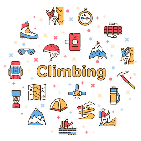 Vector color linear icon set of climbing, hiking