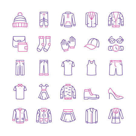 Vector color linear icon set of clothing, wardrobe