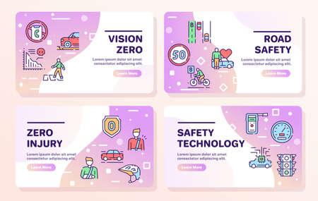 Vector color line icon set of Vision Zero