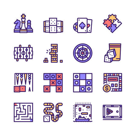 Vector color line icon set of table games  イラスト・ベクター素材