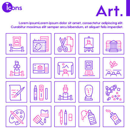 Art color linear icon set. Editable stroke. Painting and creative hobbies
