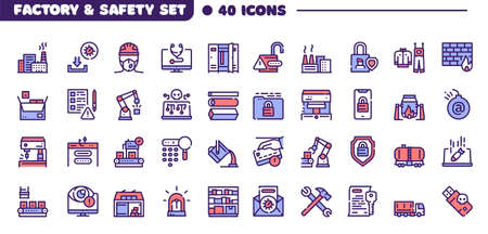 Vector color line icon set of safety tools  イラスト・ベクター素材