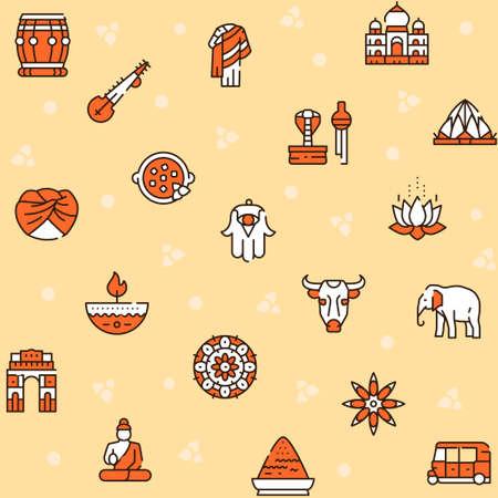 Vector color line icon round set India culture  イラスト・ベクター素材