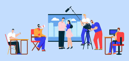 Cinema industry flat vector illustration  イラスト・ベクター素材