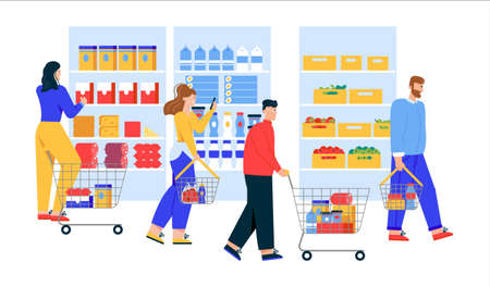 Men and women with shopping carts and baskets choosing and buying products at supermarket or grocery store