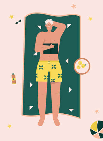 Happy people sunbathing on beach in top view seamless pattern  イラスト・ベクター素材