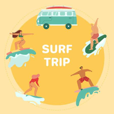 Young people riding on surfboards set, vintage camper van