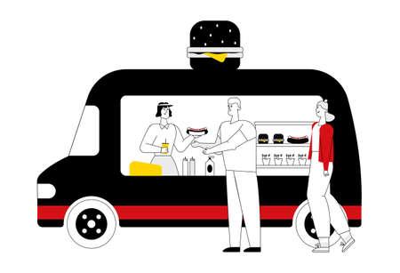 Take away food. Fast food. Flat vector illustration