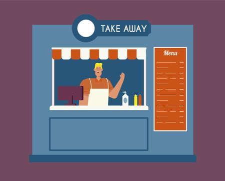 Take away food. Flat vector illustration