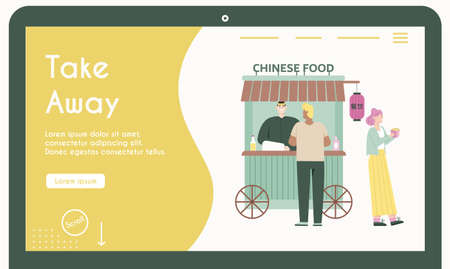 Take away food. Chinese cafe. Flat vector illustration