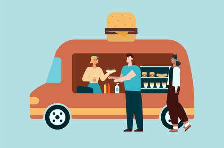 Take away food. Fast food. Flat vector illustration  イラスト・ベクター素材