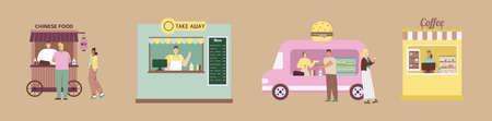 Take away food. Set of cafe. Flat vector illustration
