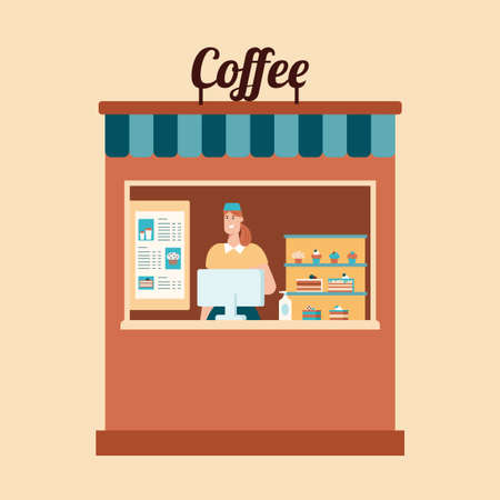 Take away food. Coffee and hygiene. Flat vector illustration