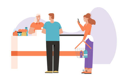 Customers at cashier desk in supermarket, people buying food at grocery