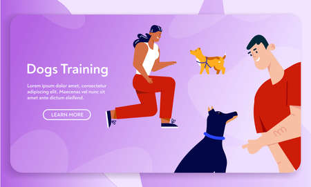 Man and woman training commands with pets, education of domestic animals