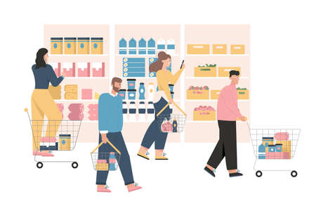 Men and women at grocery or supermarket  イラスト・ベクター素材