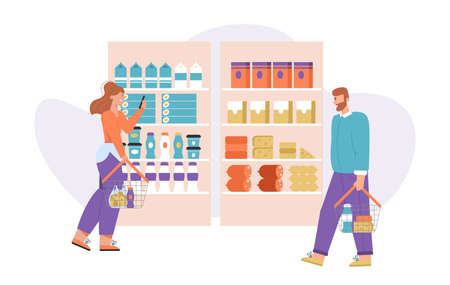Vector character illustration of customers at supermarket  イラスト・ベクター素材