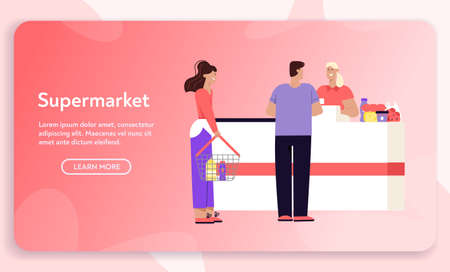 Vector banner of supermarket shopping concept, store advertising template  イラスト・ベクター素材
