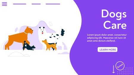 Vector banner of dogs care concept. Puppies of different breeds standing