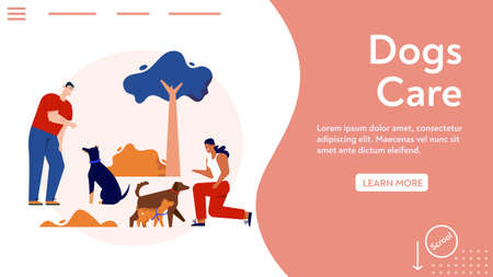 Vector banner of dogs care concept, training commands
