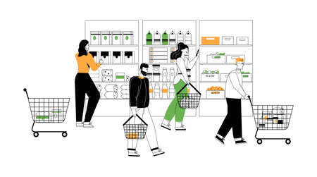 Customers at grocery or supermarket scene in graphic linear style