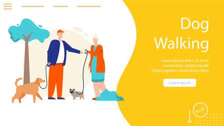 Vector banner of dog walking concept, pet sitting service
