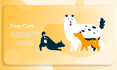 Vector banner of dogs care concept, cute puppies standing or playing together