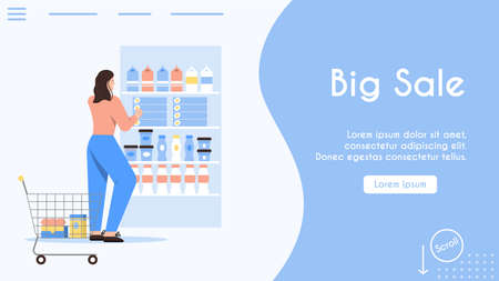 Vector banner of Big Sale at shopping concept, store advertising template