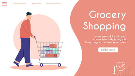 Vector banner of grocery shopping concept, store advertising template  イラスト・ベクター素材
