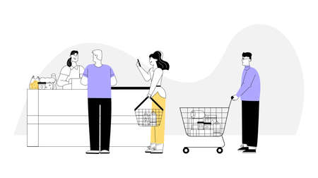 Vector character illustration of customers at supermarket in graphic linear style