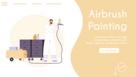 Vector banner of car airbrush painting service concept