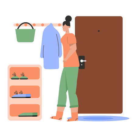 Woman in comfortable home outfit standing in cozy hallway