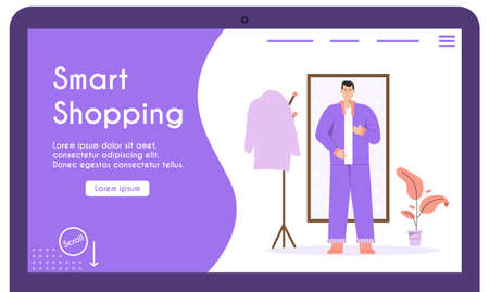 Vector banner of smart shopping concept for clothing store