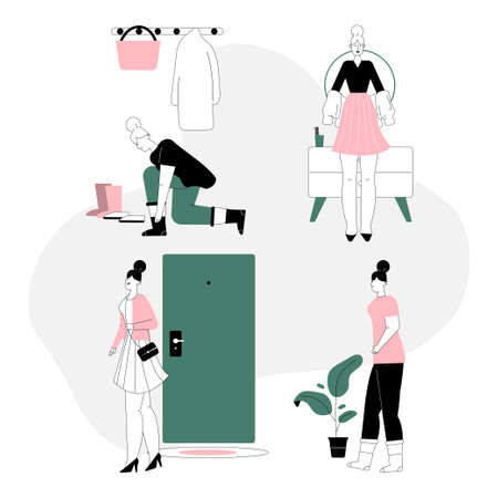 Vector linear character illustration of getting dressed and undressed