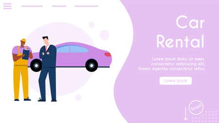 Vector banner of car rental service concept Stock Illustratie
