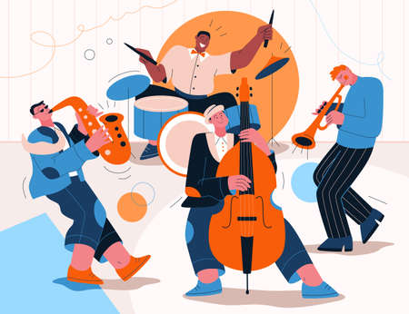 Jazz band playing music at festival, concert or perform on stage Иллюстрация