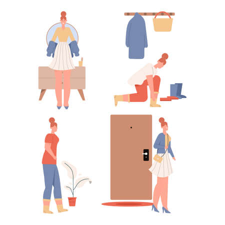 Woman getting dressed or undressed scenes set Vectores