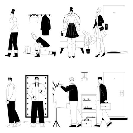 Woman or man getting dressed or undressed in hallway scenes set