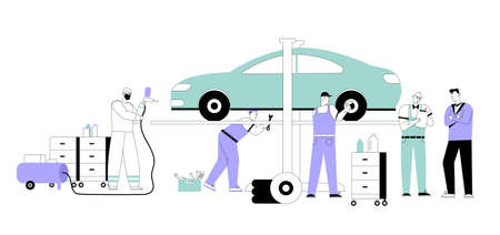 Vector character illustration of maintenance automobile, car service