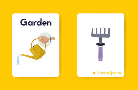 Gardening tools. Vector cartoon illustration