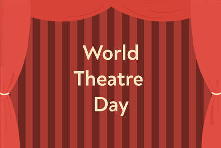 World theatre day concept. Greeting card template with red curtains Ilustração