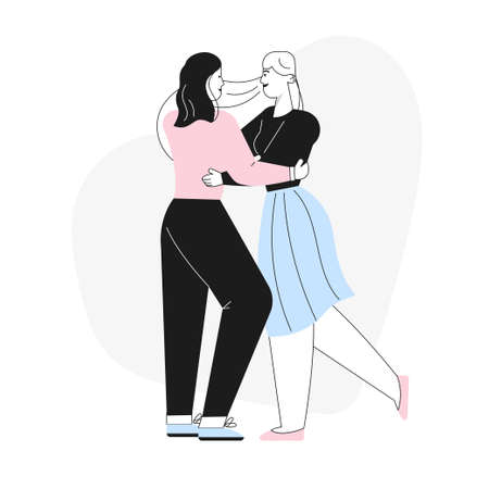 Happy female LGBT couple or family dancing on romantic date