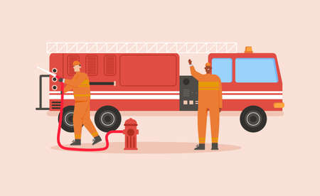 Firefighters team with fire truck isolated scene