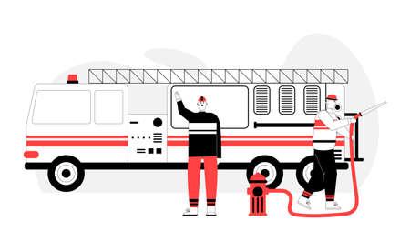 Fireman holds hydrant hose, firefighter stands near fire truck 向量圖像