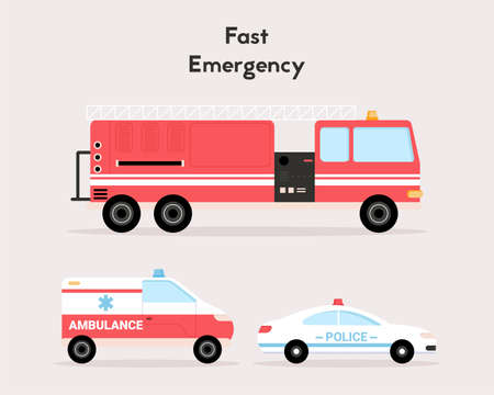 Fast emergency special vehicles set isolated objects