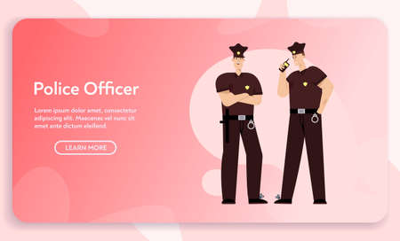 Vector banner of police officers team concept