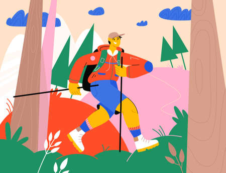 Happy man with backpack hiking in forest 向量圖像