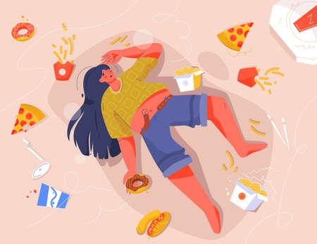 Sad fat woman eating fast food, lying on floor Vecteurs